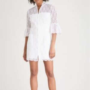 Sandro Scalloped Hem Floral White Lace Dress